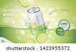 lime flavor sparkling water ads ... | Shutterstock .eps vector #1423955372