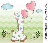 lovely giraffe cartoon walking...   Shutterstock .eps vector #1423955642