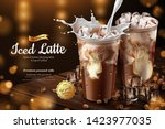 iced latte with milk pouring... | Shutterstock .eps vector #1423977035