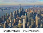 Aerial of the Manhattan financial district with modern office towers in New York City                       - stock photo
