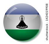 lesotho's flag glass button... | Shutterstock .eps vector #1424019908