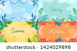 seasonal backgrounds set in... | Shutterstock .eps vector #1424029898