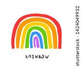 hand drawn rainbow logo.... | Shutterstock .eps vector #1424049932
