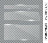 glass plates set. vector glass... | Shutterstock .eps vector #1424098178