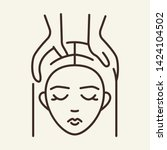 head massage line icon. woman ... | Shutterstock .eps vector #1424104502