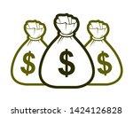 three moneybags money bag... | Shutterstock .eps vector #1424126828