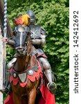 Crusader With Lance On Warhors...