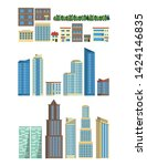 Urban buildings and skyscapers set of isolated icons vector illustration graphic design