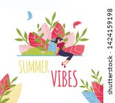 summer vibes text and resting...   Shutterstock .eps vector #1424159198