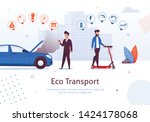 eco transport. man ride... | Shutterstock .eps vector #1424178068