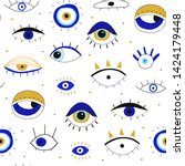 evil eyes. set of hand drawn... | Shutterstock .eps vector #1424179448
