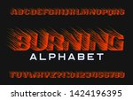 burning alphabet font. fire... | Shutterstock .eps vector #1424196395