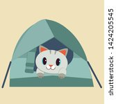 Stock vector the character of cute cat in the tent the cat sitting in the tent for the forest camping trip it 1424205545