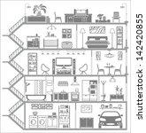 house interior silhouette....   Shutterstock .eps vector #142420855