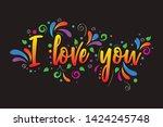 i live you  vector lettering... | Shutterstock .eps vector #1424245748