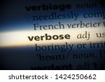 Small photo of verbose word in a dictionary. verbose concept, definition.