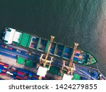large container cargo ships are ... | Shutterstock . vector #1424279855