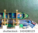 large container cargo ships are ... | Shutterstock . vector #1424280125