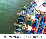 large container cargo ships are ... | Shutterstock . vector #1424280605