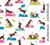 yoga dogs poses and exercises.... | Shutterstock .eps vector #1424283128