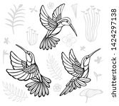Stock vector hummingbirds with floral elements black birds in lines on white background tattoo sketch style 1424297138