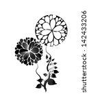 black white flower abstraction  | Shutterstock .eps vector #142433206