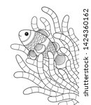 sea doodle coloring book page... | Shutterstock .eps vector #1424360162