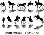 horses and riders silhouettes... | Shutterstock . vector #14243770
