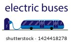 electric bus in the city on... | Shutterstock .eps vector #1424418278