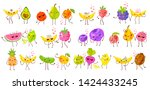 cute funny fruit characters set ... | Shutterstock .eps vector #1424433245