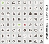 large set 64 of retro style web ... | Shutterstock . vector #142444015