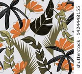 trendy seamless pattern with... | Shutterstock .eps vector #1424448155