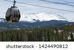 Ski Lift Gondoala Cable Car in Colorado Rocky Mountains Ski Resort - stock photo