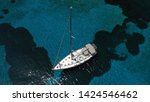 aerial photo of sail boat... | Shutterstock . vector #1424546462