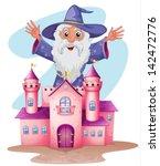 illustration of a pink castle... | Shutterstock .eps vector #142472776