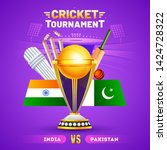 cricket tournament poster or... | Shutterstock .eps vector #1424728322