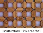 beautiful brown wooden pot mat... | Shutterstock . vector #1424766755