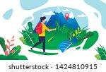 man traveler with backpack... | Shutterstock .eps vector #1424810915