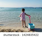 child walking with toy carriage ...   Shutterstock . vector #1424835422