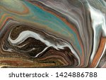 brown and gold marbling pattern.... | Shutterstock . vector #1424886788