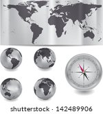 globe and map of the world.... | Shutterstock .eps vector #142489906