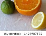 green juicy lime  orange and...   Shutterstock . vector #1424907572