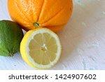 green juicy lime  orange and...   Shutterstock . vector #1424907602