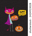 funny hand drawn happy... | Shutterstock .eps vector #1424923028