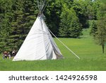teepee in forest on family day. ...   Shutterstock . vector #1424926598