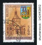 austria   circa 1984  stamp... | Shutterstock . vector #142492852