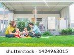 happy black family standing...   Shutterstock . vector #1424963015