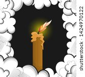 burning candle in a frame of... | Shutterstock .eps vector #1424970122