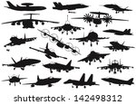 Military aircraft silhouettes collection. Vector on separate layers - stock vector
