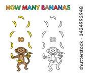 cartoon monkey counting bananas.... | Shutterstock . vector #1424993948